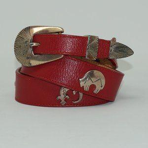Vintage 90s Red Leather Western Belt